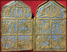 Load image into Gallery viewer, Four Panel Traveling Icon Russian metal icon antique