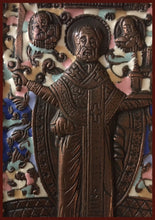 Load image into Gallery viewer, St. Nicholas of Mozhaisk bronze antique russian icon