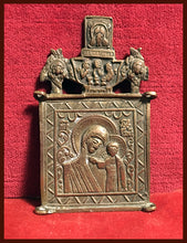"Load image into Gallery viewer, Mother of God ""Kazan"" antique metal icon"