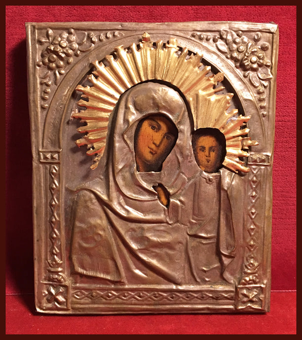 antique icon Russian kazan mother of god