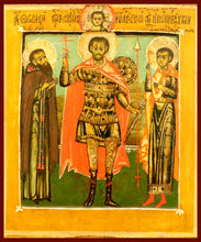 Load image into Gallery viewer, Sts. John the Warrior, Gennadius, and Mercurius orthodox icon