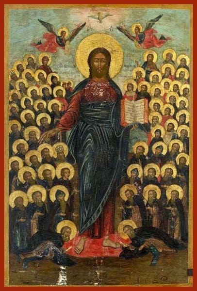 Christ Full Standing With Saints - Icons