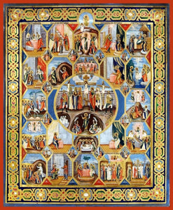 Crucifixion With Feast Days And Subjects - Icons