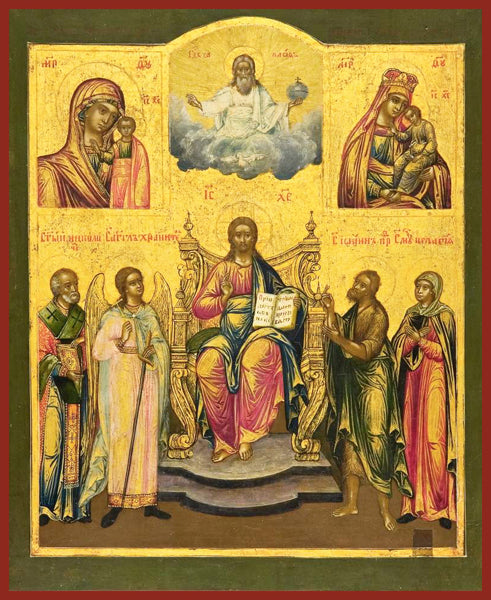 Christ Enthroned with Saints and Mother of God Orthodox Icon