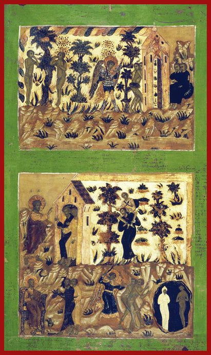 The Fall and the Expulsion of Adam and Eve from Paradise Russian Icon orthodox