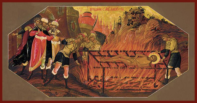 The Martyrdom of St. Lawrence Orthodox Icon
