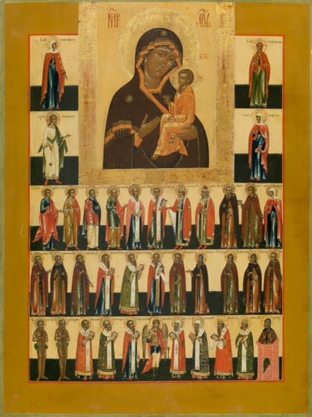 Mother Of God Tikhvin And Saints - Icons