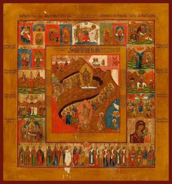 Resurrection Of Christ With Feast Days Saints And Subjects - Icons