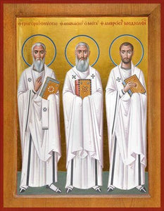 Sts. Ambrose Of Milan Athanasius The Great And Gregory - Icons