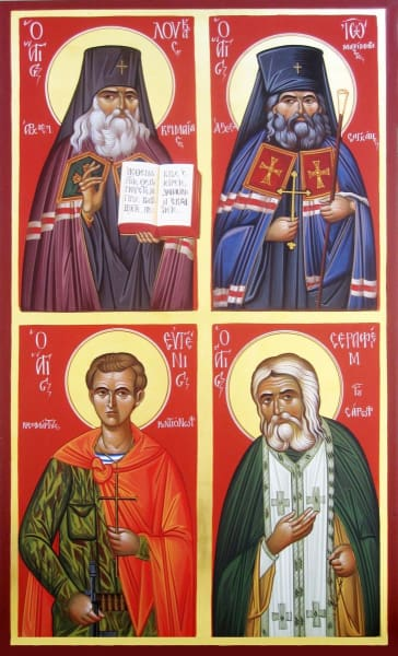 Sts. Eugene Rodinov Seraphim Sarovski Luke The Doctor And John Of San Francisco - Icons