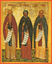 Load image into Gallery viewer, Sts. Euthymius The Great Anthony The Great And Sava The Sanctified - Icons