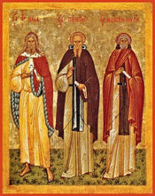 Load image into Gallery viewer, Sts. Pimen The Great Moses The Black And Holy Prophet Elijah - Icons