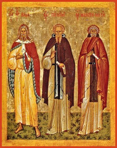 Sts. Pimen The Great Moses The Black And Holy Prophet Elijah - Icons