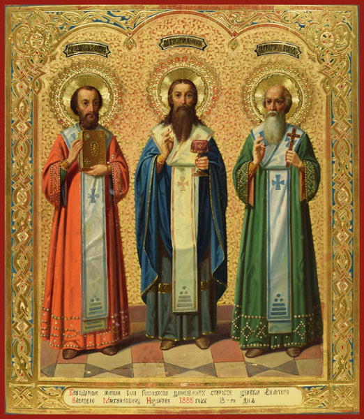 Three Holy Hierarchs : Sts. Basil, Gregory, and John Orthodox icon