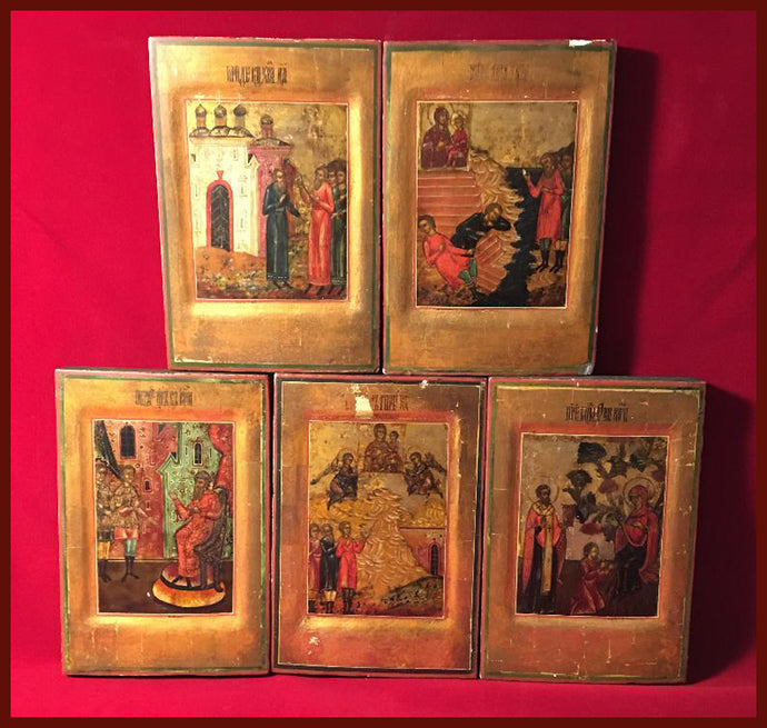 Set of Five Icons : Life of the Tikhvin icon of the Mother of God
