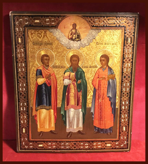 Original antique icon of Sts. Gourius, Samon and Abib