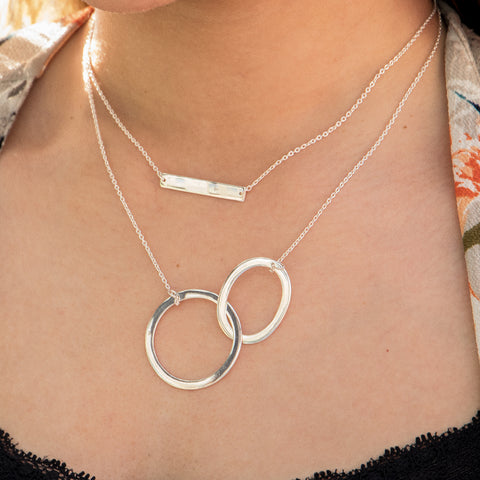 Layering Pendant, Entwined Circles, Horizontal Bar