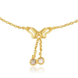 Sabyavi Body Jewellery Gold Butterfly Ankle Chain Sterling Silver