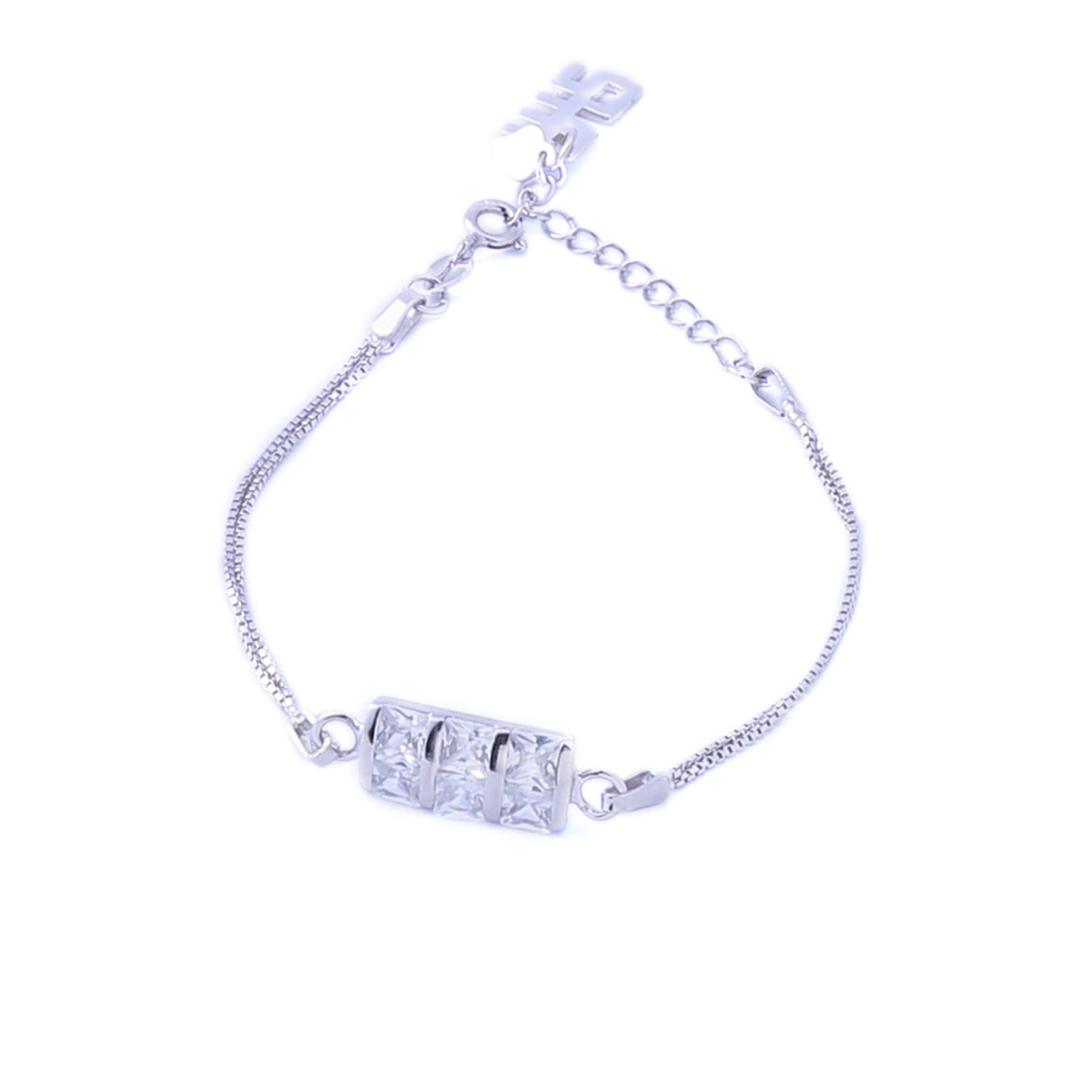 Sabyavi Bracelet Channel-Set Square Zircon Bracelet Sterling Silver
