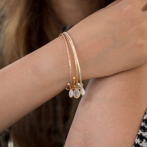 Sabyavi Bracelet Gold Charm Bangle Sterling Silver