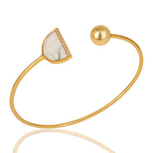 Sabyavi Bracelet Gold Crescent Moon Open Ended Cuff Bracelet Sterling Silver