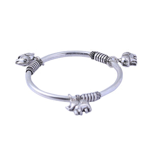 Sabyavi Bracelet Kids Elephant Charm Bangle Sterling Silver