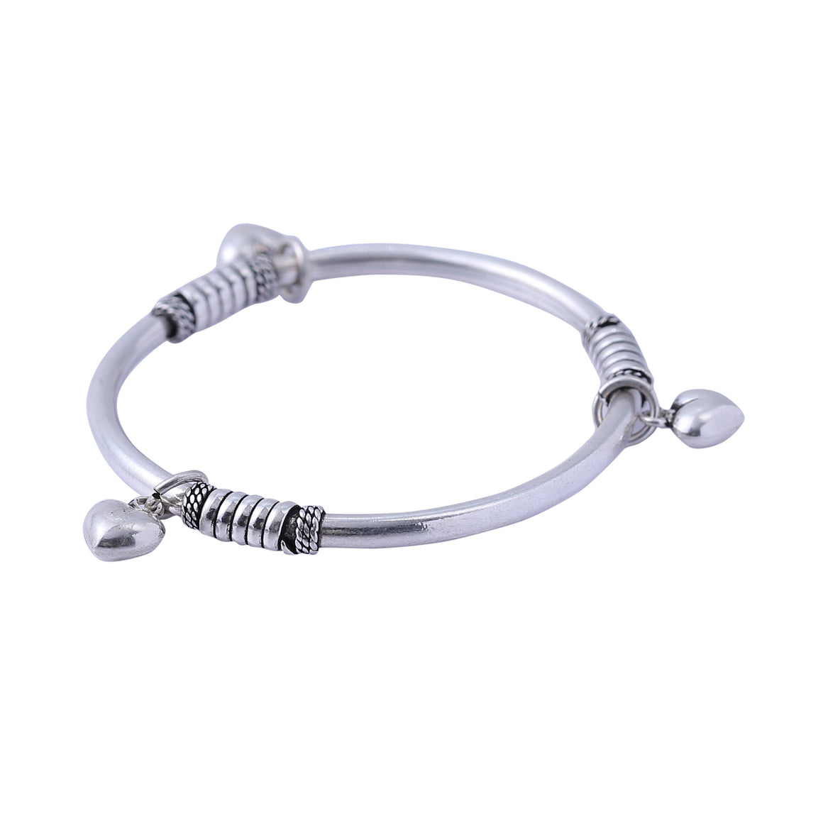 Sabyavi Bracelet Kids Heart Charm Bangle Sterling Silver
