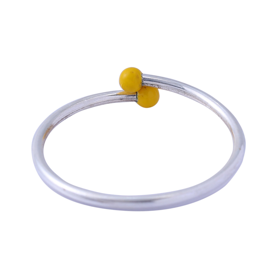 Sabyavi Bracelet Kids Yellow Enamelled Open Ended Bangle Sterling Silver