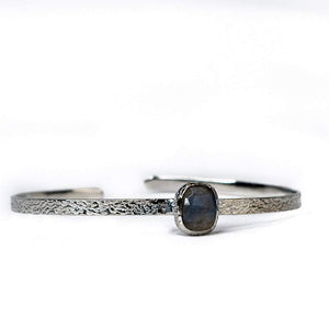 Sabyavi Bracelet Silver Labradorite Open Ended Textured Bangle Sterling Silver