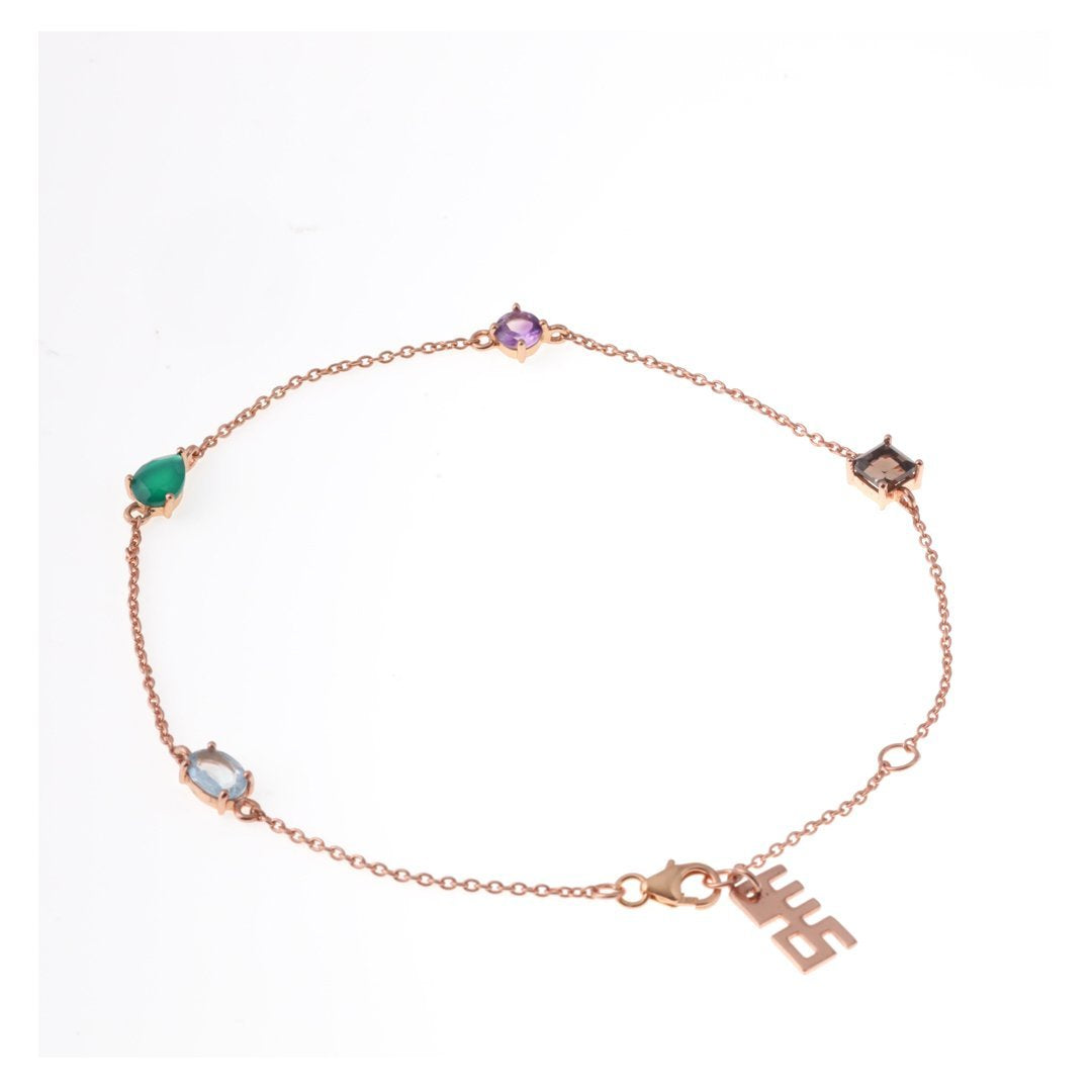 Sabyavi Colored Beads Chain Anklet