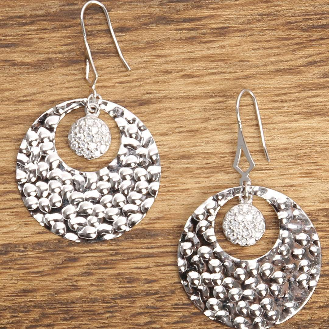 Sabyavi Earrings Beaten Disc Earrings Sterling Silver