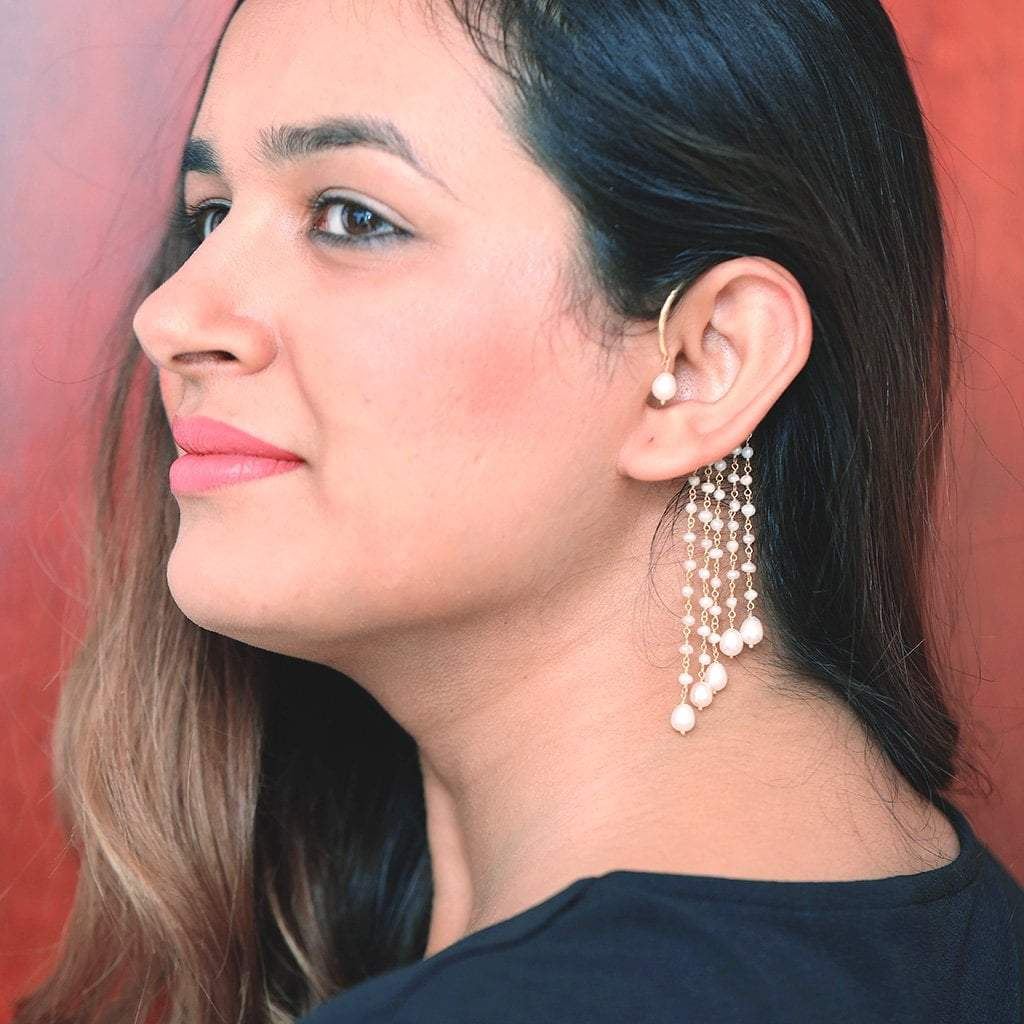 Sabyavi Earrings Behind The Ear Pearl Hoop