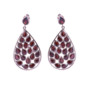 Sabyavi Earrings Garnet Cluster Rose Plated Earring Sterling Silver