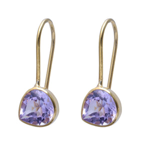 Sabyavi Earrings Gold Amethyst Bezel Set Earring Sterling Silver
