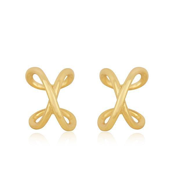 Sabyavi Earrings Gold Cross Ear Cuff Sterling Silver