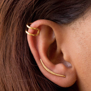 Sabyavi Earrings Gold Ear Cuff Sterling Silver