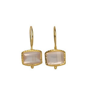 Sabyavi Earrings Rose Quartz Bezel Set Rose Plated Earring Sterling Silver