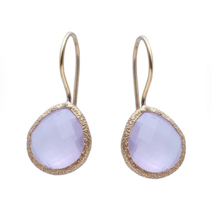 Sabyavi Earrings Gold Rose Quartz Textured Earrings Sterling Silver