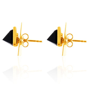 Sabyavi Earrings Gold Triangular Stud Sterling Silver