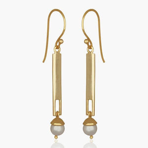 Sabyavi Earrings Gold Vertical Bar Earring Sterling Silver