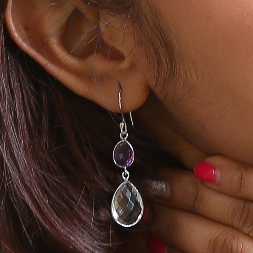 Sabyavi Earrings Green Quartz and Amethyst Earrings Sterling Silver