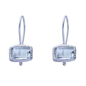Sabyavi Earrings Green Quartz Bezel Set Earring Sterling Silver