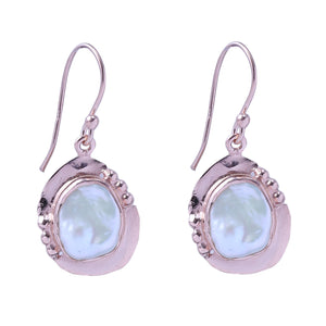 Sabyavi Earrings Gold Baroque Pearl Bezel Set Earrings Sterling Silver