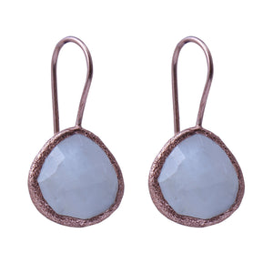 Sabyavi Earrings Silver Moonstone Textured Earrings Sterling Silver
