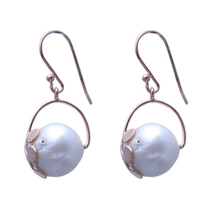 Sabyavi Earrings Gold Round Pearl Leaf Collet Earrings Sterling Silver