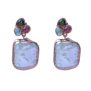 Sabyavi Earrings Silver Tourmaline and Baroque Pearl Earrings Sterling Silver