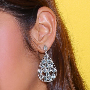 Sabyavi Hoops Silver Blue Topaz Cluster Earrings Sterling Silver