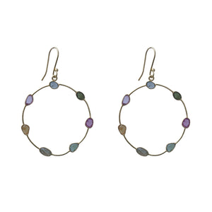 Sabyavi Hoops Gold Multicolor Tourmaline Hoops Sterling Silver