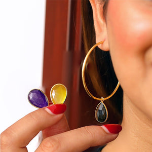 Sabyavi Hoops Hoops with Changeable Stones