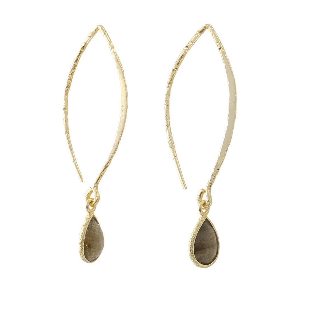 Sabyavi Hoops Labradorite Gold Plated Hoops Sterling Silver